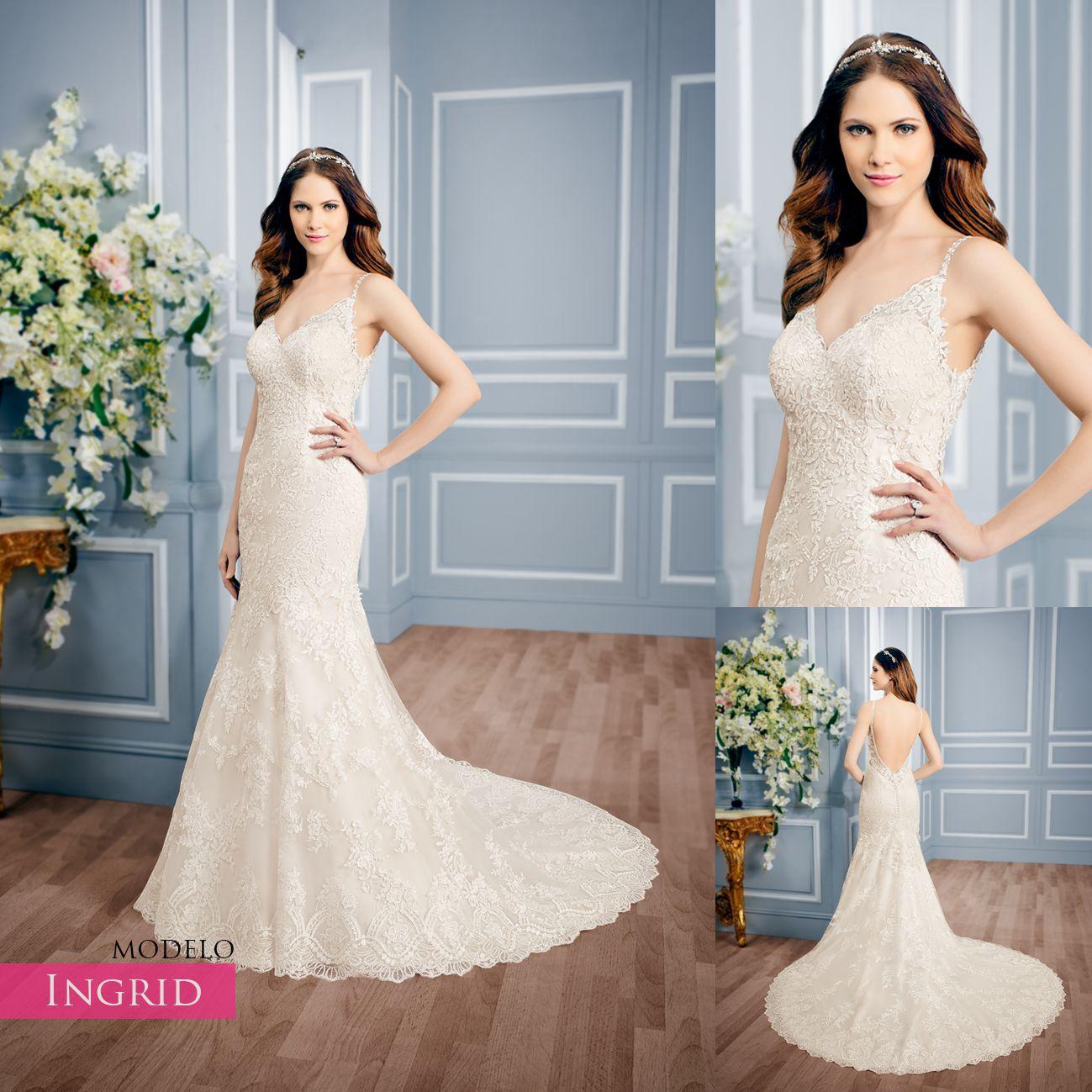 Vestido de novia corte sirena, escote en V, bordado con hermosas ...