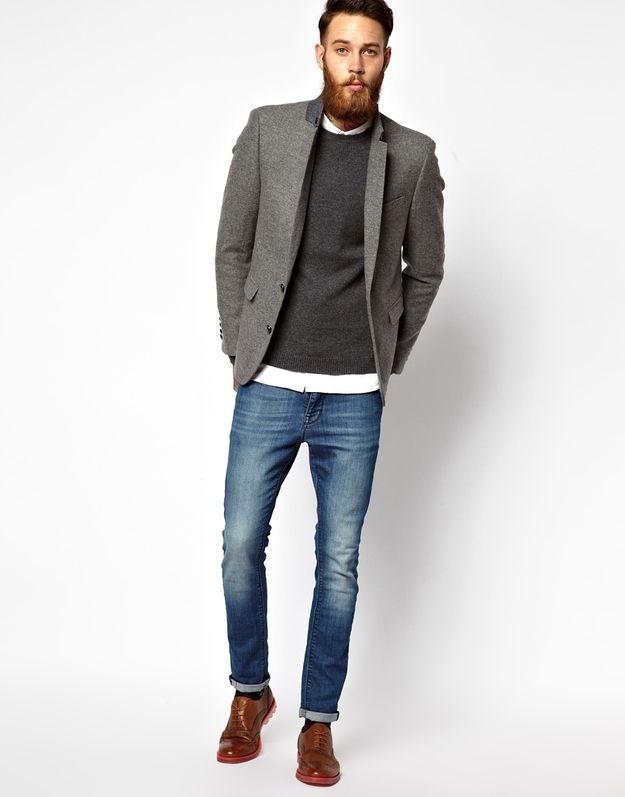 good grey tweed blazer outfit black