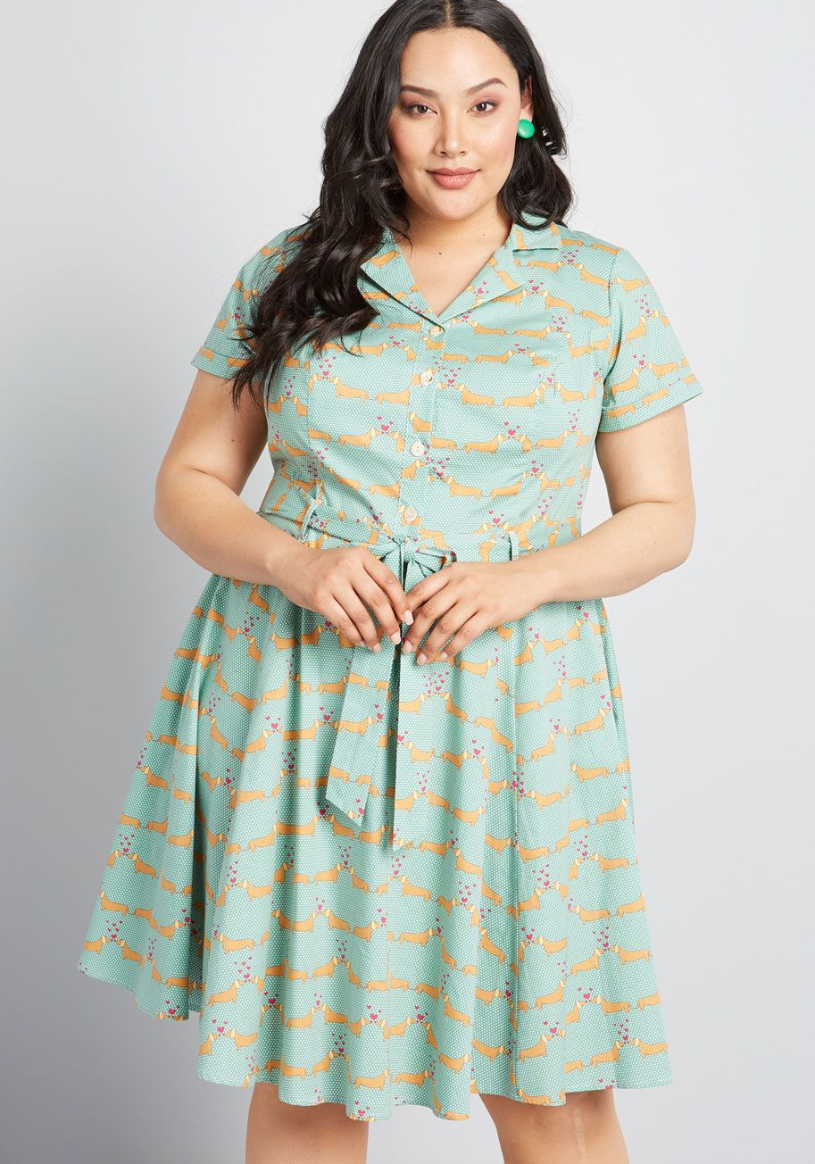 Energetic Rendition Shirt Dress | Plus size retro dresses ...