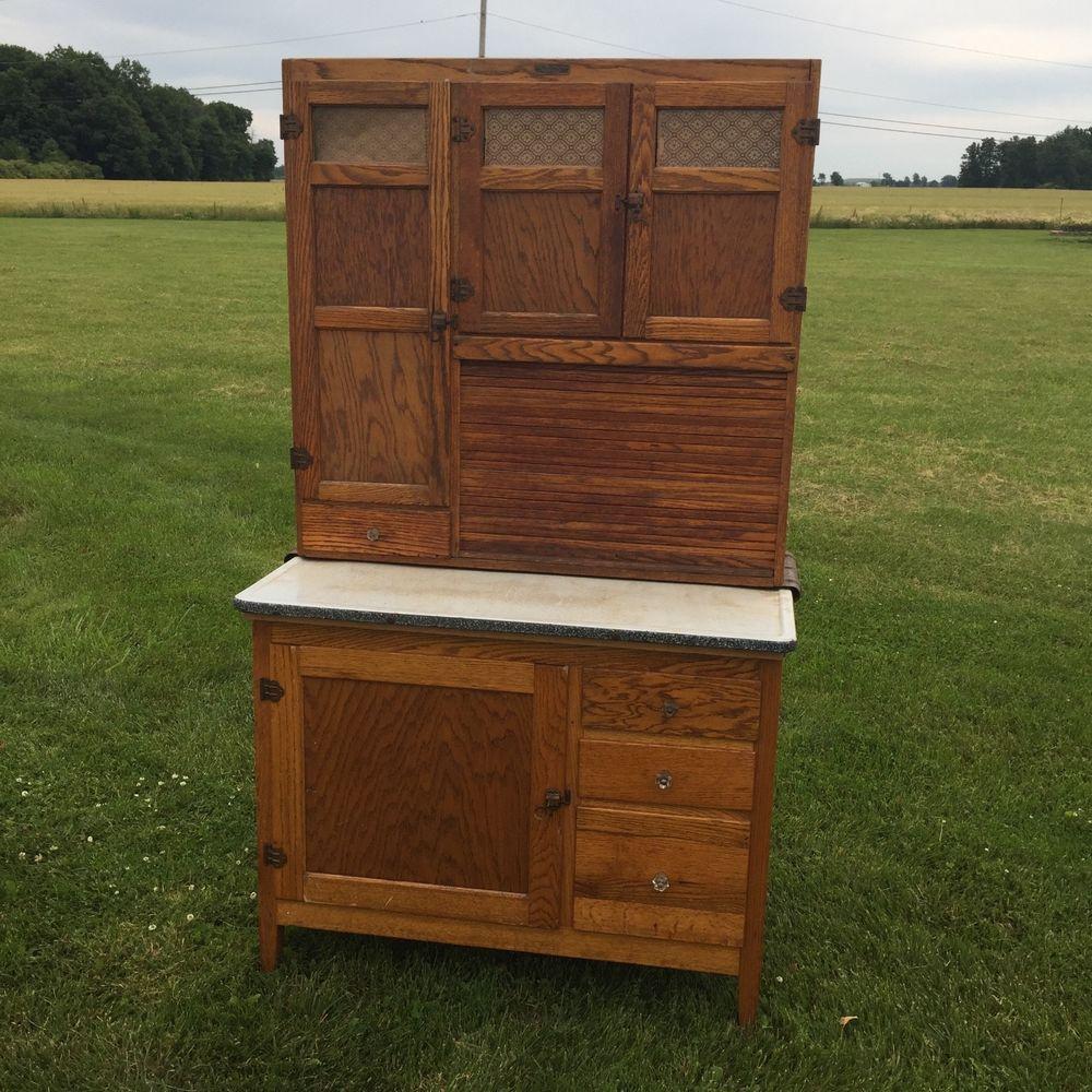 Antique Hoosier Cabinet W/5 Draws,Roll Up Door,&4 Cupboard ...