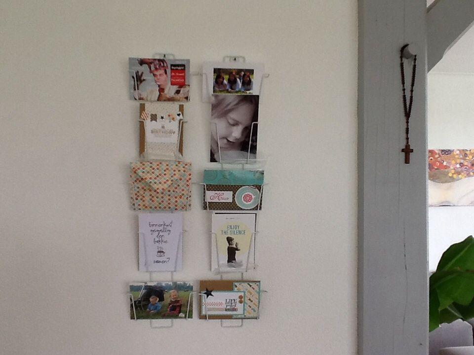 kaartenrekje met foto's en Stampin Up! self-made kaartjes