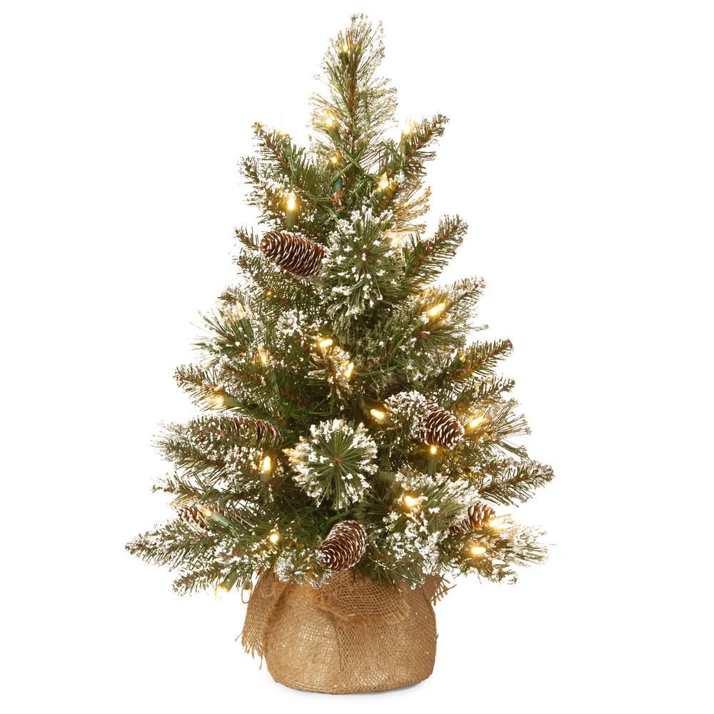 24 In Glittery Bristle Pine Tree With Battery Operated Warm White Artificial Christmas Tree Pine Christmas Tree Pre Lit Christmas Tree