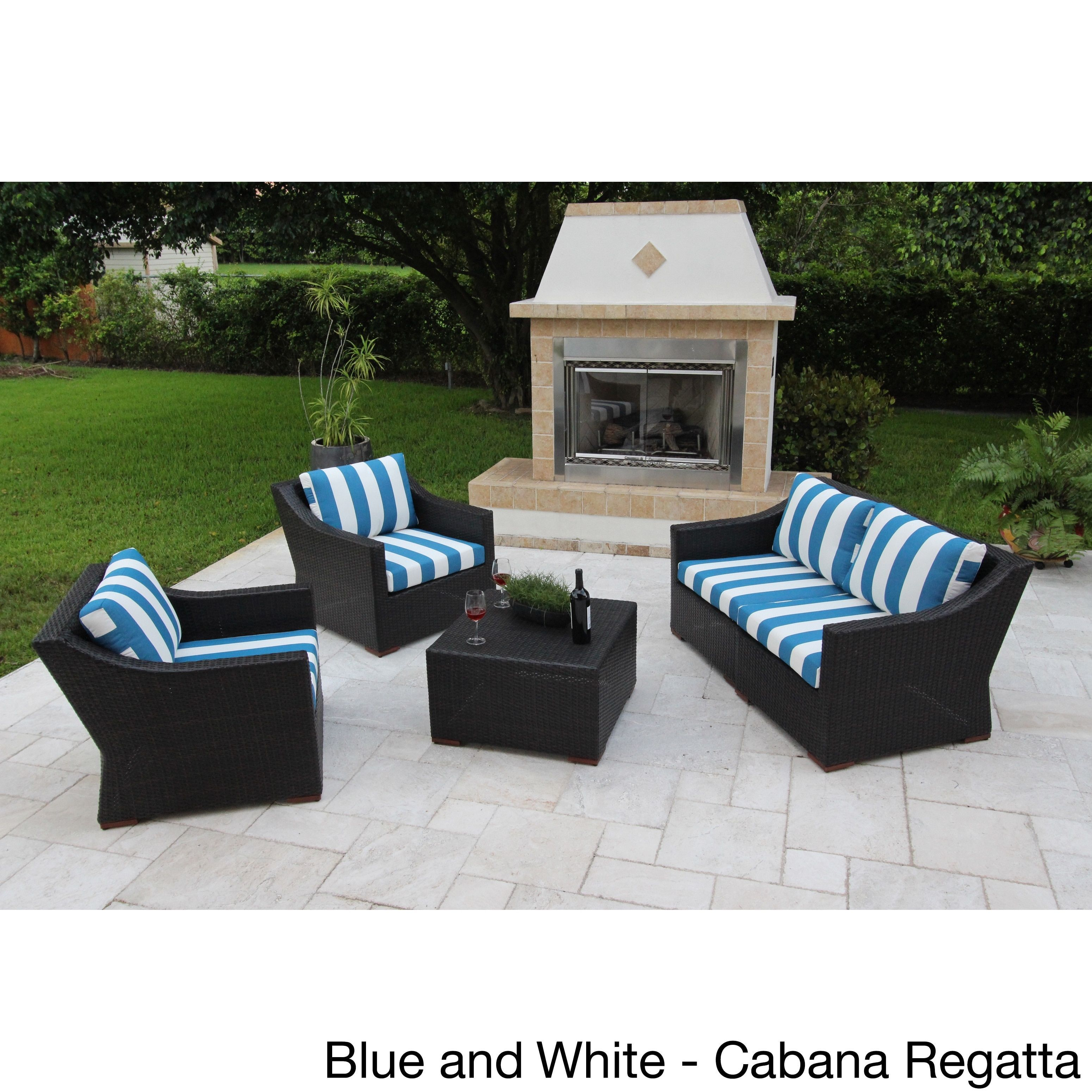 Anne 5 piece deep seating sofa set with sunbrella fabric blue and white cabana regatta brown size 5 piece sets patio furniture