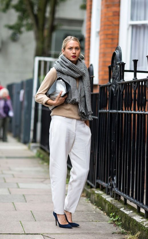 Camel Sweater, White Trouser, and Houndstooth Scarf.  London Street Style.