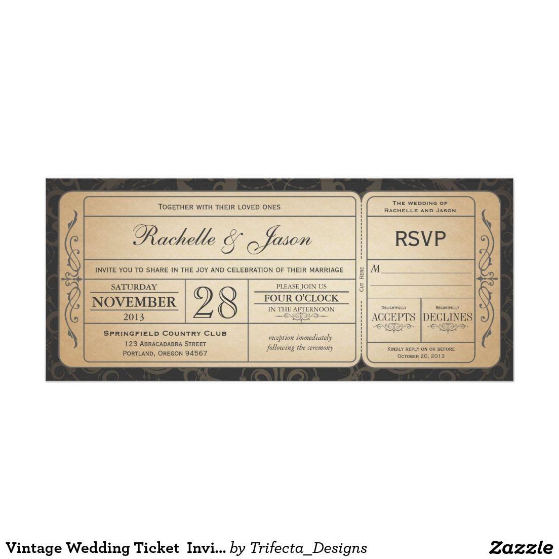 Vintage Wedding Ticket Invitation with RSVP 3.0 Vintage Wedding ...