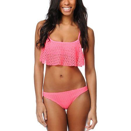 Roxy Sweet Terrain Pink Crochet Ruffle Bikini Top