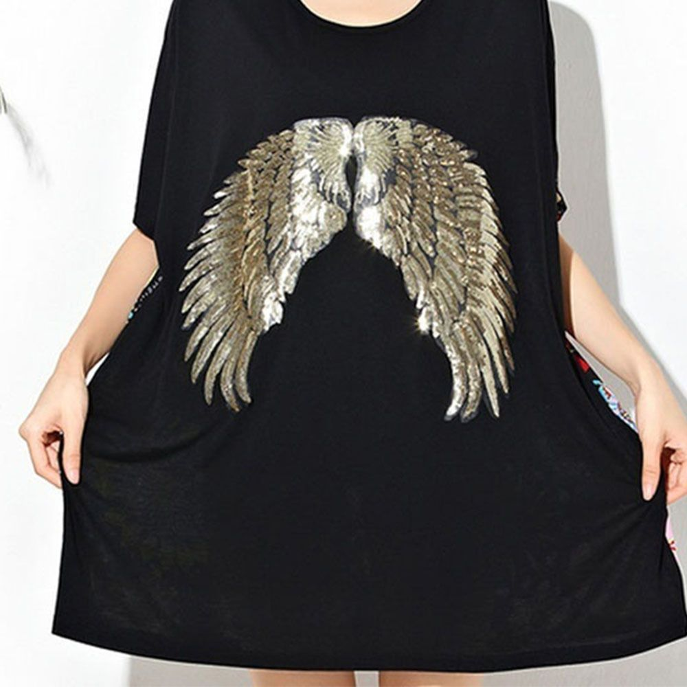 1 Pair Embroidery Sequin Patch Clothing Gold//Silver Angel Wings Iron On Patches