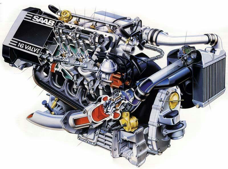 cutaway h engine   saab 900, saab turbo, saab  pinterest