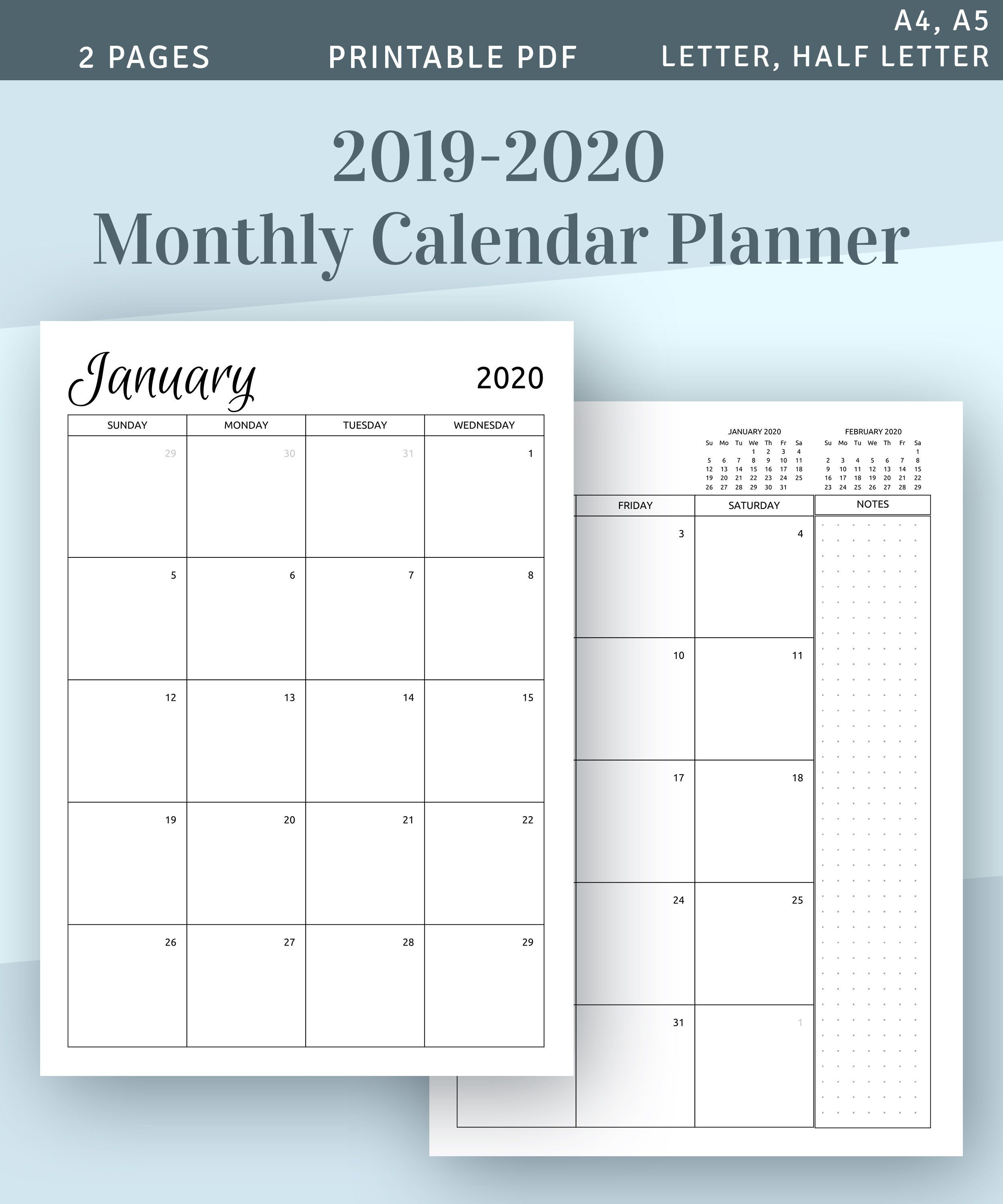 2019 2020 Monthly Calendar Printable Template Download 2019 Etsy Monthly Calendar Printable Calendar Printables Calendar Monthly Planner