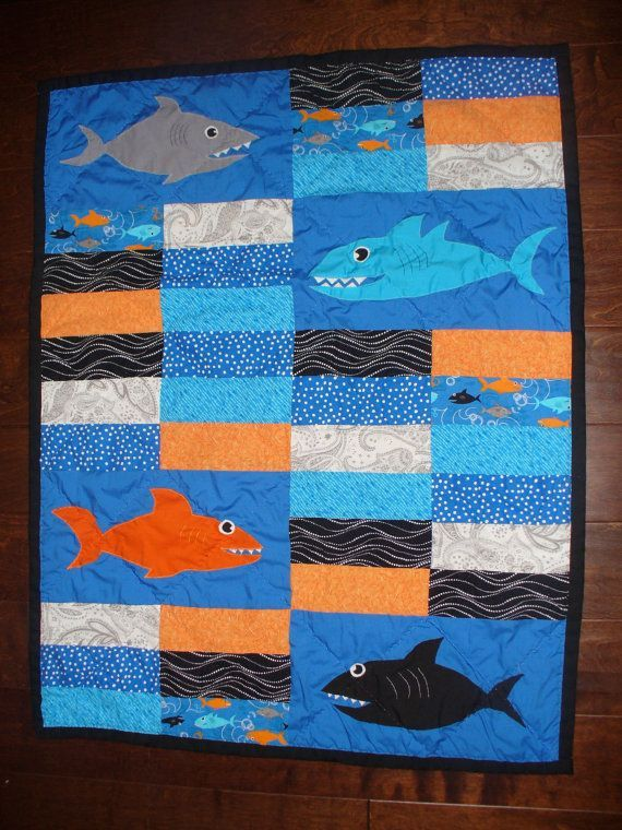 shark quilt ideas | Orange, Blue and Black Shark Nursery Quilt ... : shark quilt - Adamdwight.com