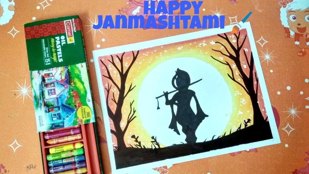 Krishnan Janmashtami Drawing With Oil Pastel Janmashtami Drawing For Beg Oil Pastel Drawings Pastel