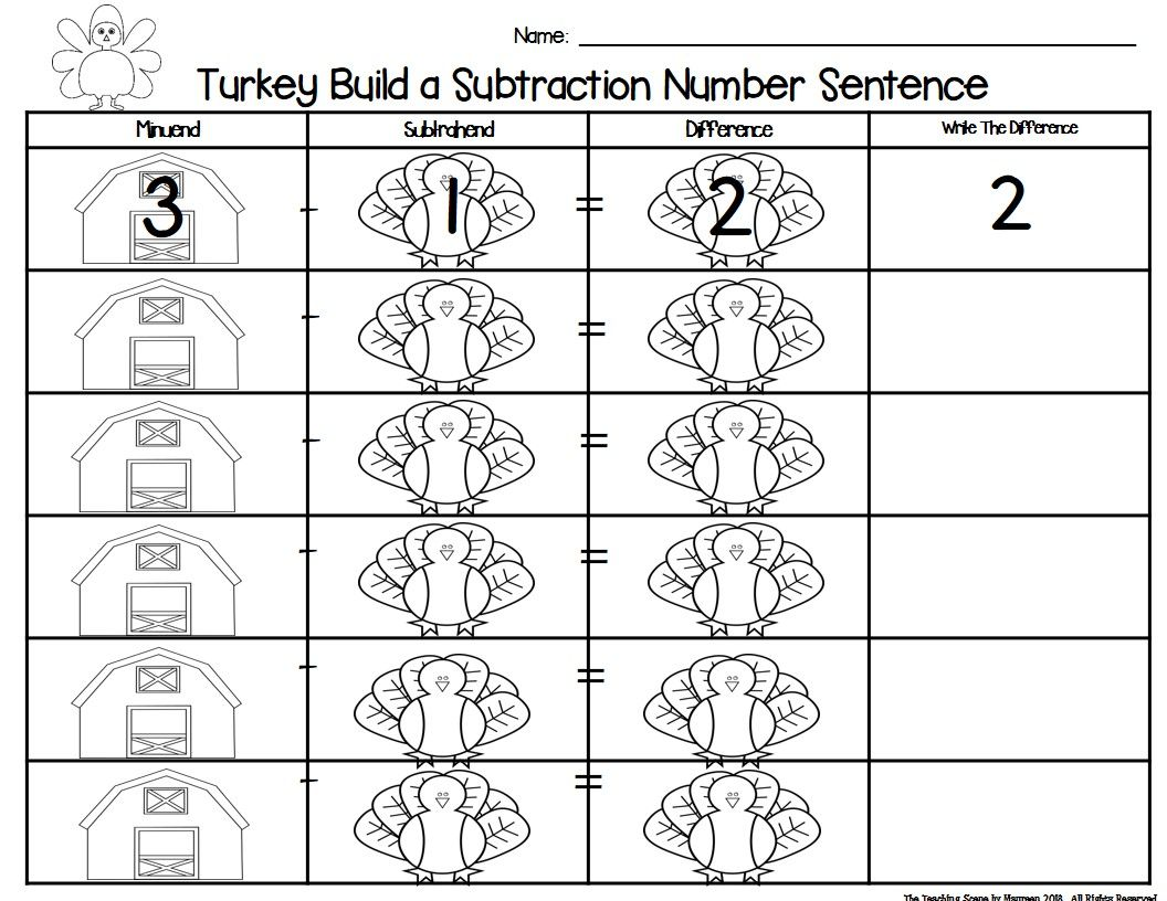Turkey Build 2 Addend 0 20 Addition Amp Subtraction Number