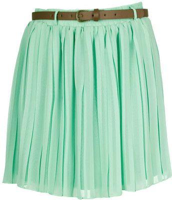 Mint Pleated Chiffon Mini Skirt - Polyvore