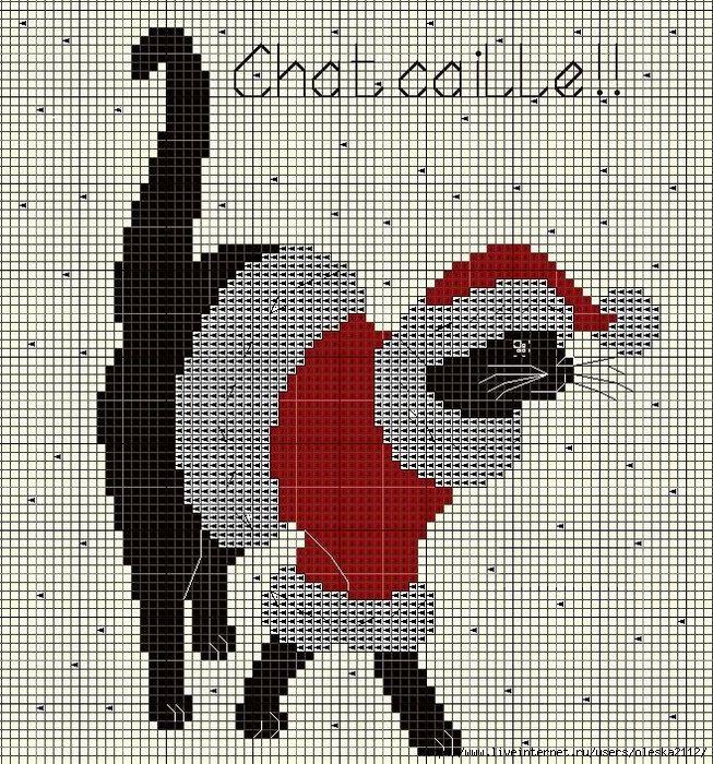 <3 - black cat cross stitch