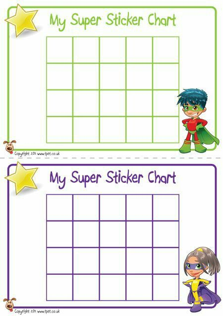 Toddler superhero reward sticker chart Great for when our second