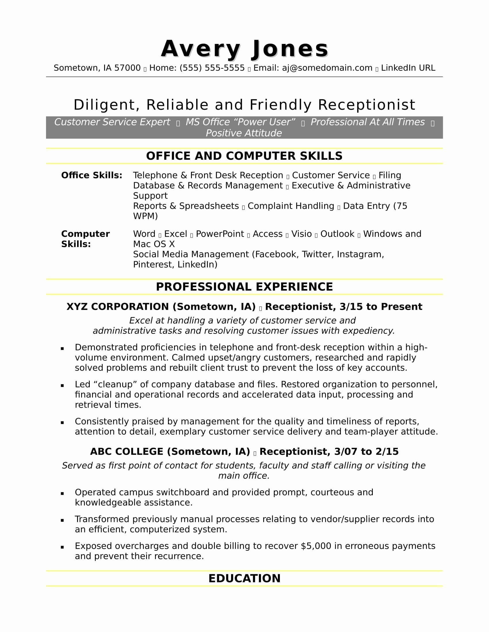 Best bullets for resume receptionist resume