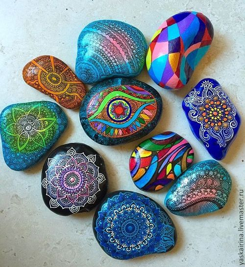 Painted Rock Design Ideas: Colorful Designs On The Rock Pieces