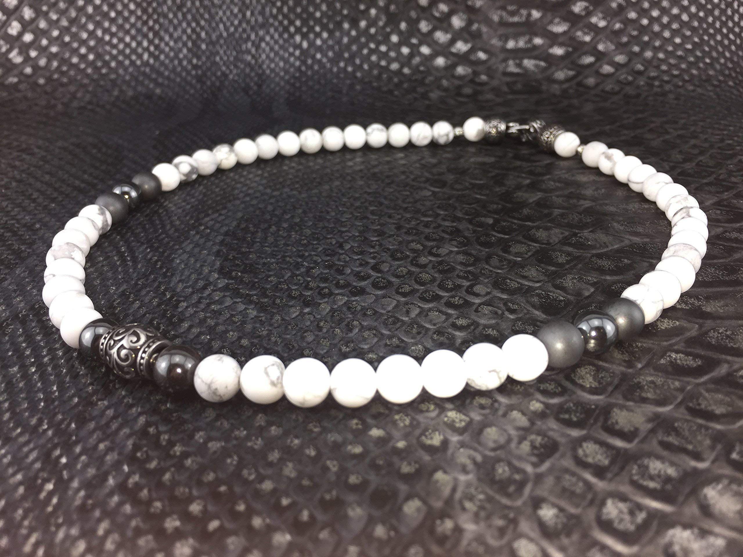 804efcc9601581 Halskette Kette Perlenkette Designerschmuck Howlith f¨¹r Herren M nner Damen  Frauen Schmuck Biker
