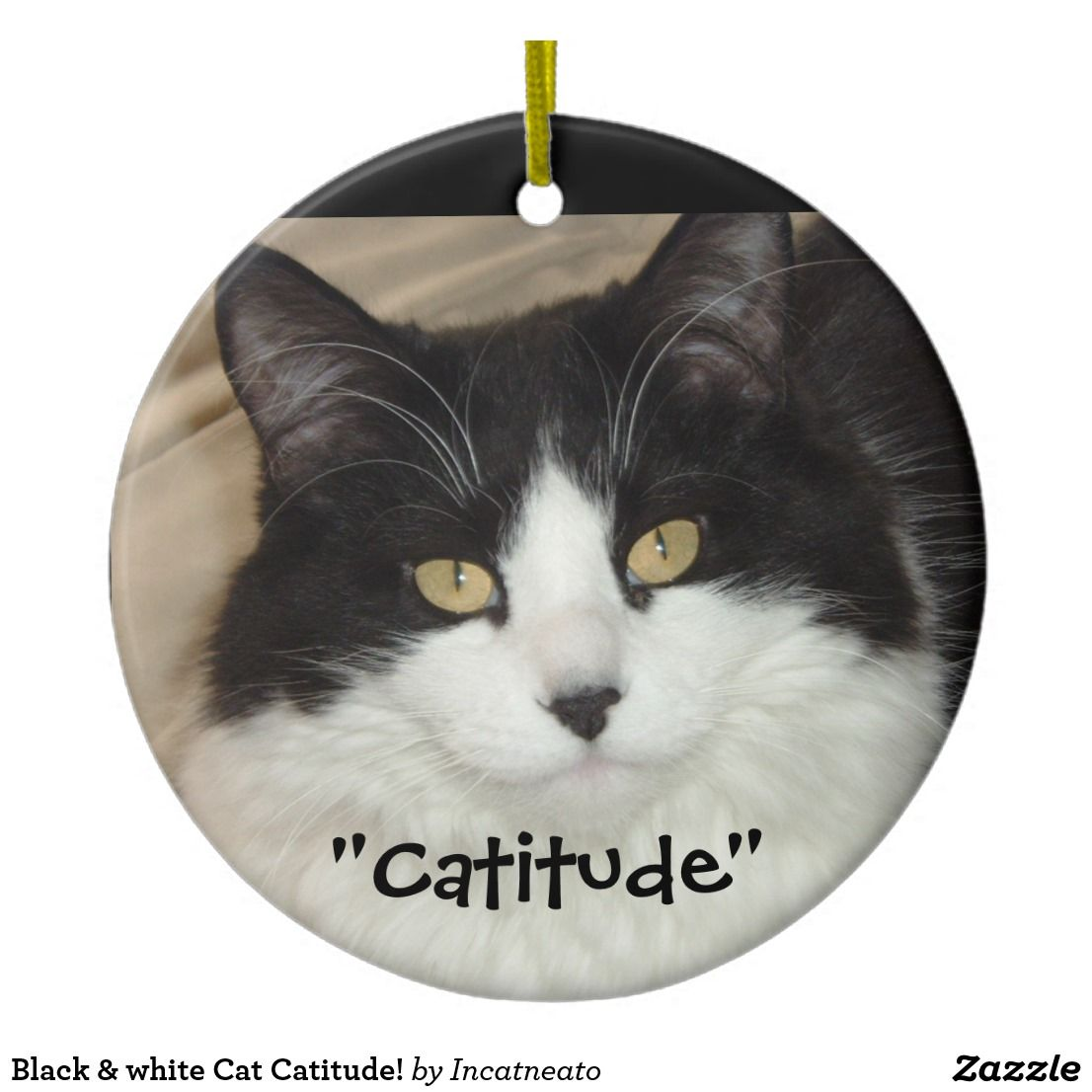 Black White Cat Catitude Ceramic Ornament Zazzle Com Ceramic Ornaments White Cat Black And White