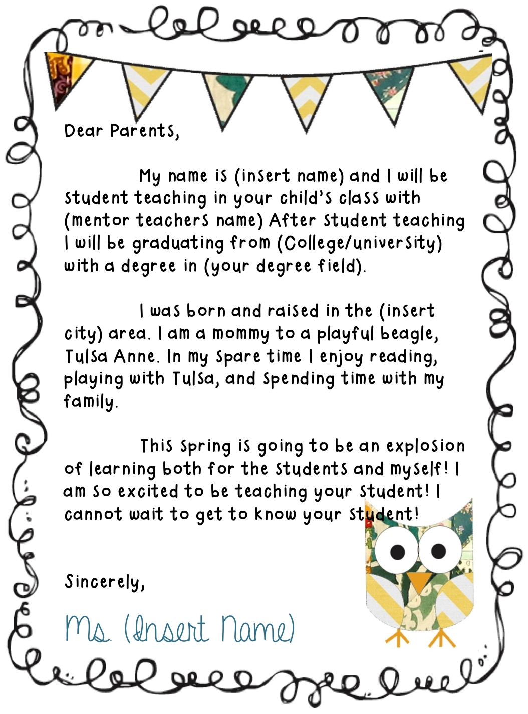 Student Teaching Resume Needing To Make A Letter To Send To Parents To Introduce Yourself