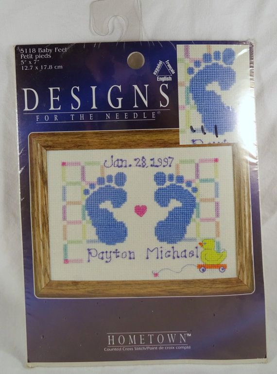 Designs for the Needle Counted Cross Stitch Kit Baby Feet boy