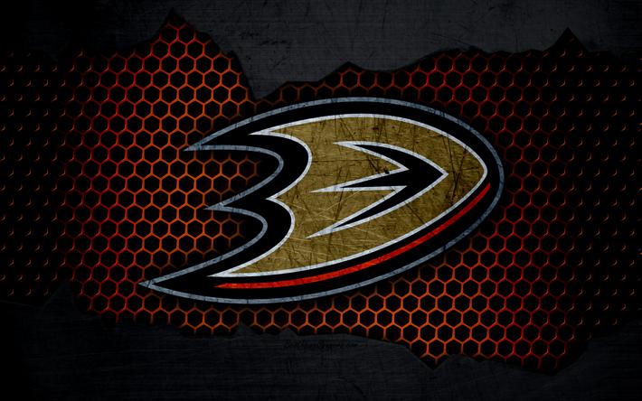 Lataa kuva Anaheim Ducks, 4k, logo, NHL, jääkiekko, Läntisen Konferenssin, USA, grunge, metalli rakenne, Tyynenmeren Divisioona