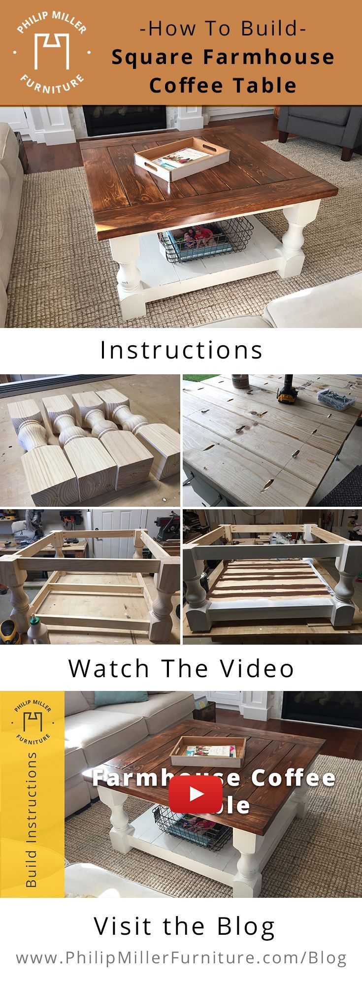How to build a square farmhouse coffee table with instructions and