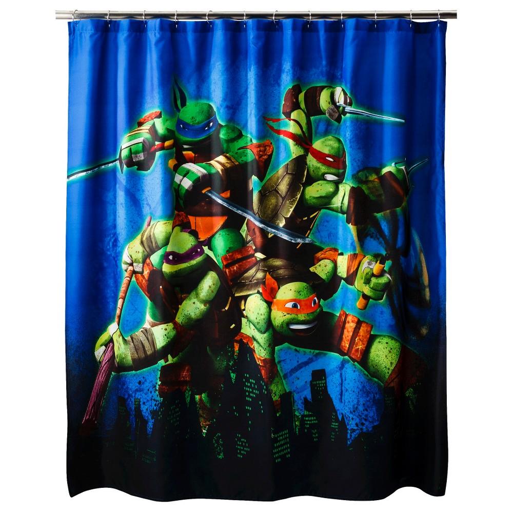 Teenage mutant ninja turtles shower curtain blue blueblackgreen