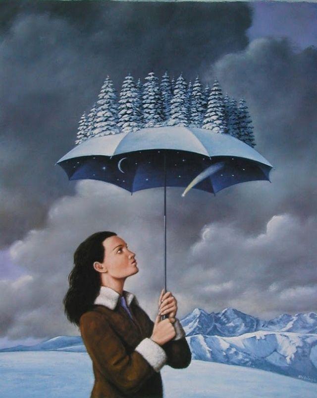 Par Rafal Olbinski (1945) illustrateur/peintre surréaliste et designer polonais.