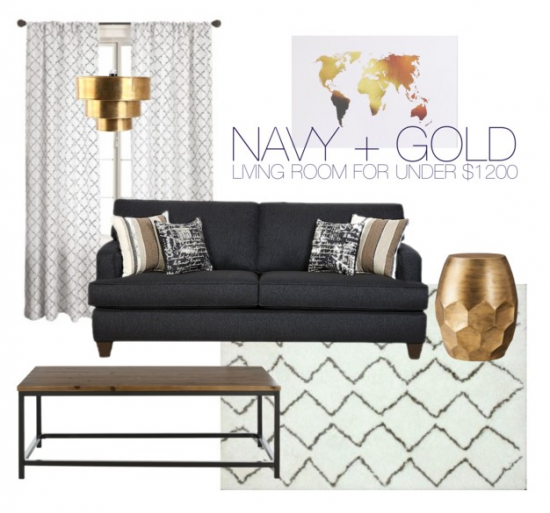 Navy Gold Living Room For Under 1200 Through The Front Door