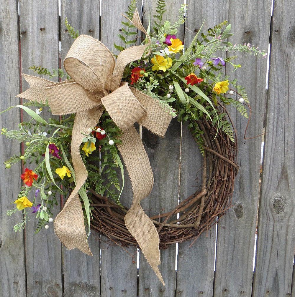 Wildflower Wreath - Spring / Summer Wreath - Everyday Burlap Wreath, Door Wreath, Front Door Wreath by HornsHandmade on Etsy https://www.etsy.com/listing/224409262/wildflower-wreath-spring-summer-wreath
