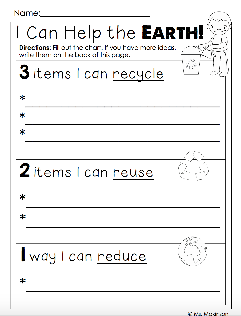 Earth Day FREE   Earth day worksheets [ 1252 x 954 Pixel ]