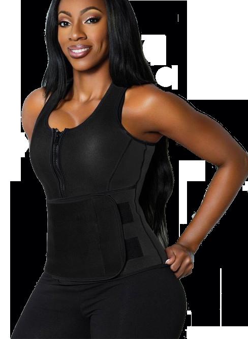 Neoprene Sauna Suit Waist Trainer Zip Up Body Shaper Workout Adjustable Waist