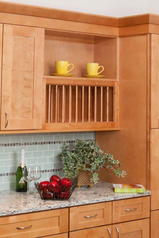 Shaker Honey #Kitchen Cabinet Plate Rack detail ...