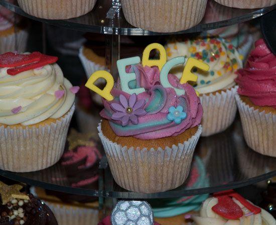 "70's Tie Dye ""Peace"" Cupcake"
