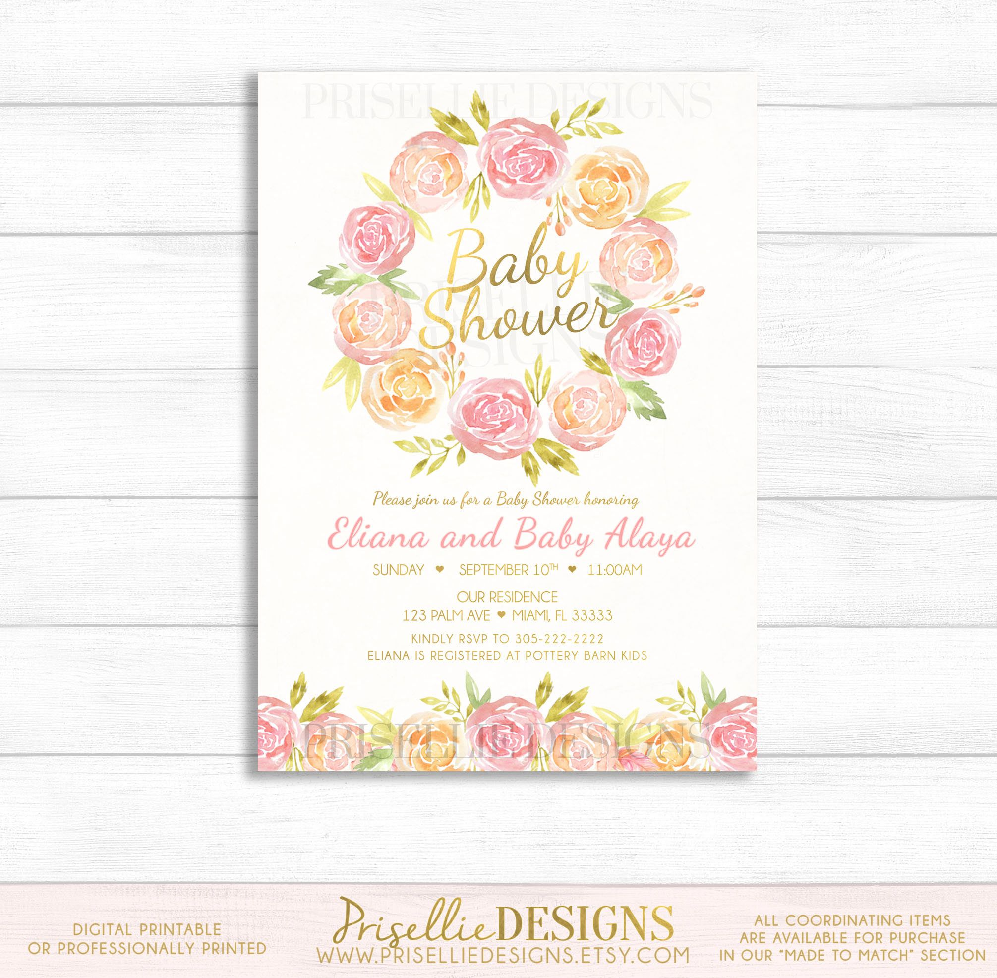 floral baby i personalized invitations bridal and pink shower wording flowers invitation gold the birthday blush like pin