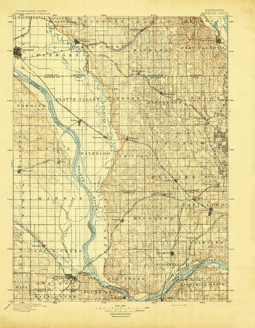 Fremont Nebraska Quadrangle Topographic Map 1896 Maps Map