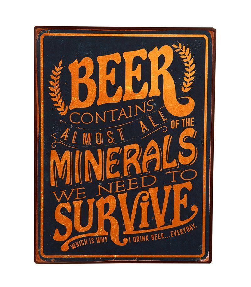Placa de Metal Decorativa Vintage Vintage Minerals