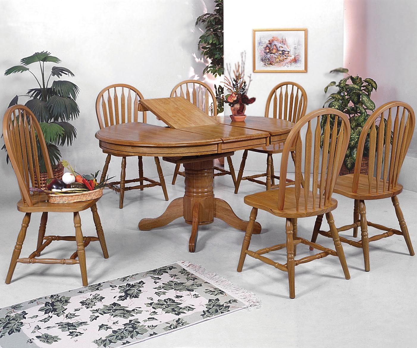 Windsor solid 7 piece oval dining table and side chairs by crown mark