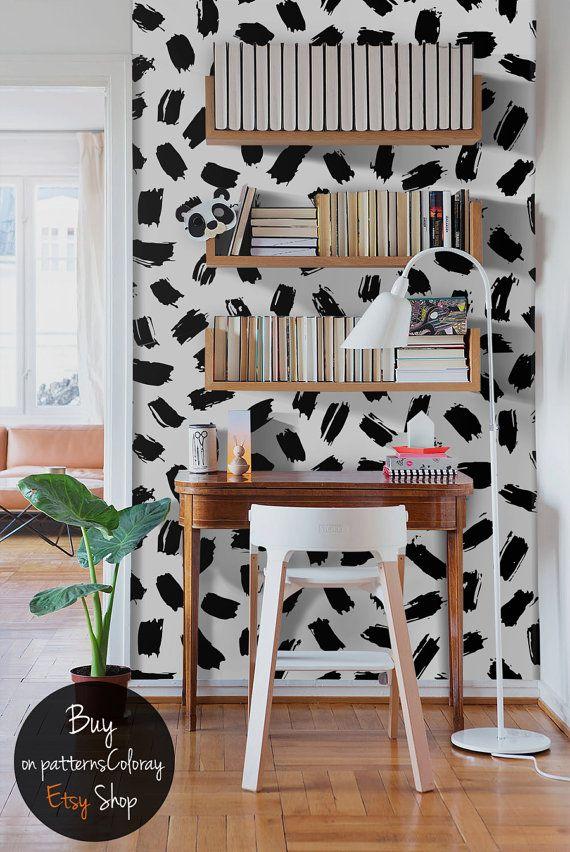 Blanco y negro abstracto wallpaper, papel de pared extraíble, de piel y pegar decoración mural, Custom color pared etiqueta de la pared #47