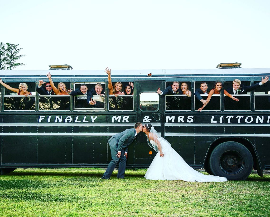 Guest Transportation Turned Into Bridal Party Picture Fun Kali Yahn Photography Walnut Grove Weddings Jump On