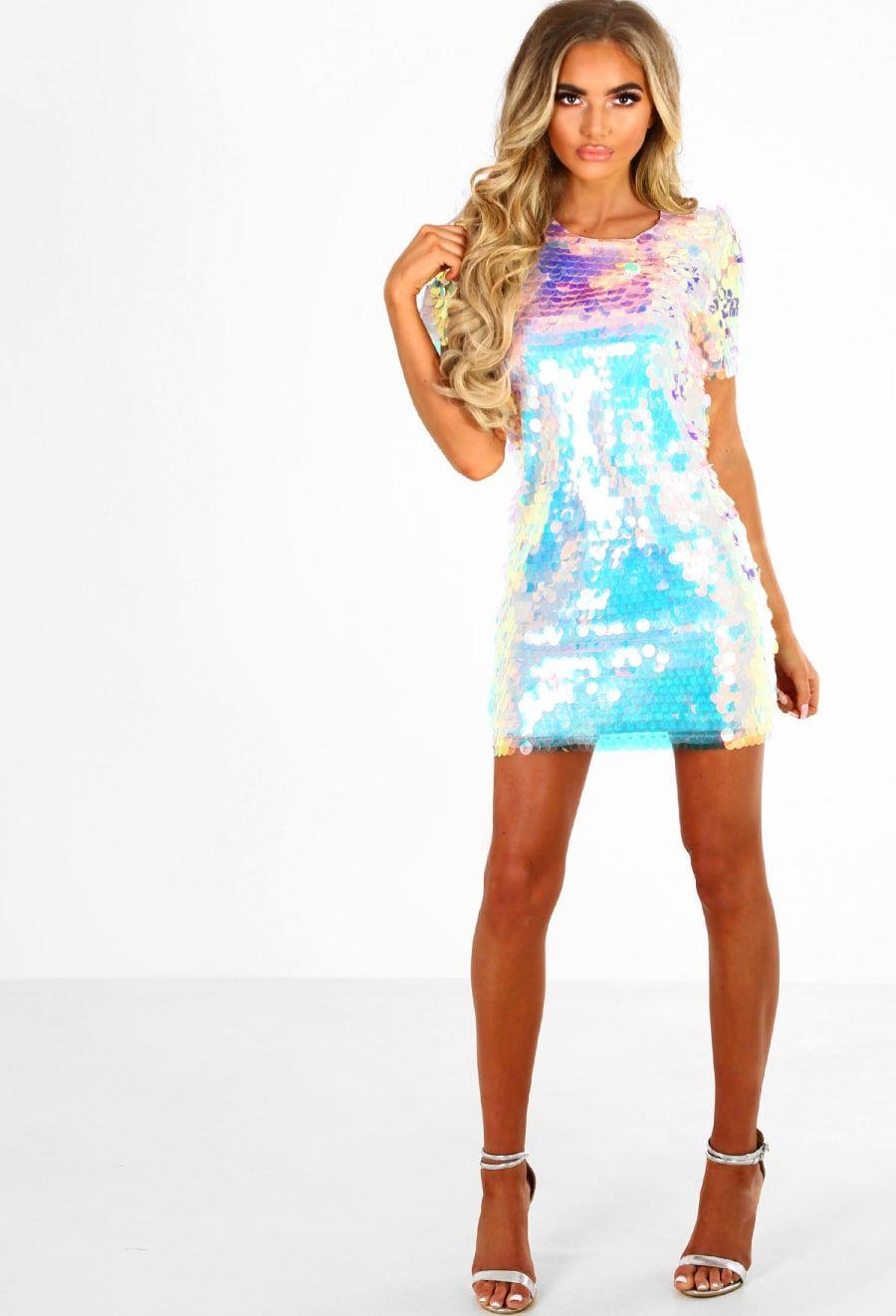 Rainbow Unicorn Multi Sequin Iridescent Mini Dress - 6  232fb4a62