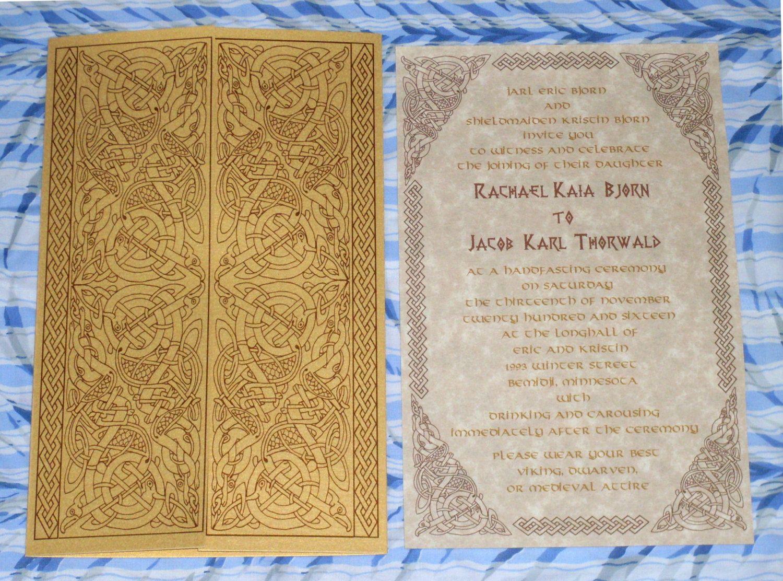 Viking, Valhalla Gates, Norse, Celtic Gatefold Wedding Invitation Suite by MidnightRevels on Etsy