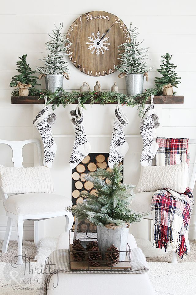 farmhouse christmas decor and decorating ideas white and red christmas decor fixer upper style farmhouse style - Farmhouse Christmas Decor Pinterest
