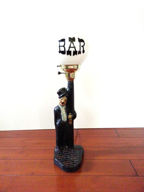 Vintage Bar Globe Lamp / Charlie Chaplin Drunkard On Bar