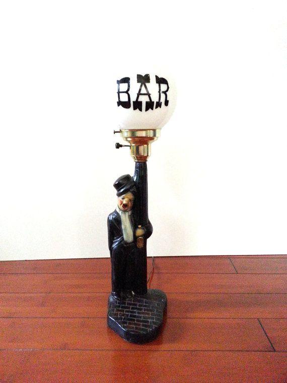 Vintage Bar Globe Lamp / Charlie Chaplin Drunkard On Bar ...