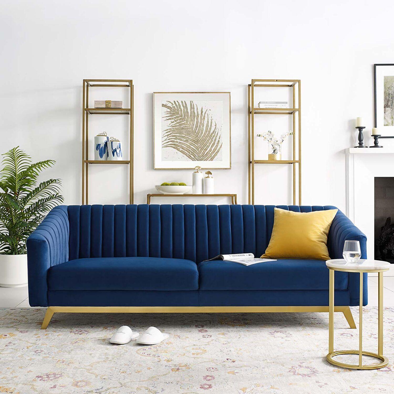 Valiant Navy Sofa Eei 3403 Nav Modway Furniture Fabric Sofas In 2021 Velvet Sofa Living Room Blue Sofas Living Room Blue Velvet Sofa Living Room