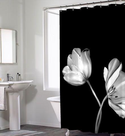 shower curtains night tulips - gaiam | black shower