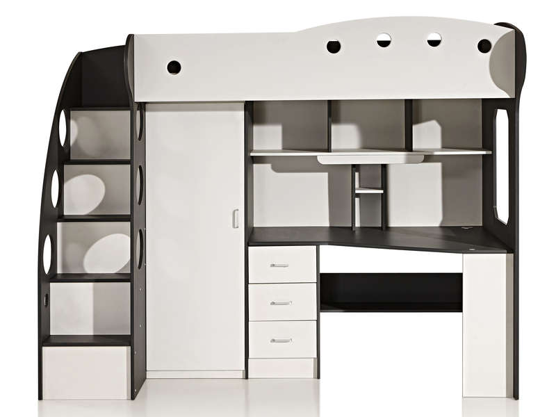 Lit Mezzanine 90x190 Cm Sunny Coloris Blanc Gris Vente De Lit Enfant Conforama Lit Mezzanine Bureau Lit Mezzanine Lit Mezzanine 90x190