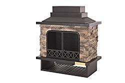 Sunjoy L Of079pst 1 Farmington Steel And Faux Stack Stone Outdoor Fireplace 42 Inch X 24 Inch X 40 Inch Outdoor Fireplace Modern Outdoor Kitchen Outdoor Kitchen